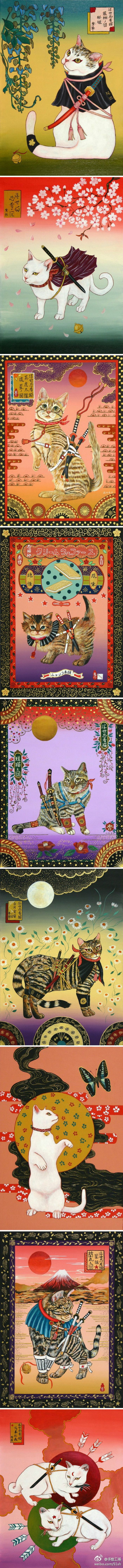 "Ukiyo-e Ninja Cat illustrations -- 田中秀治~浮世忍者猫~ (""Tanaka Shuji"" may be the painter?)  There are more (and single frames) pinned at  https://www.pinterest.com/yrauntruth/felinity-arty-cats/"