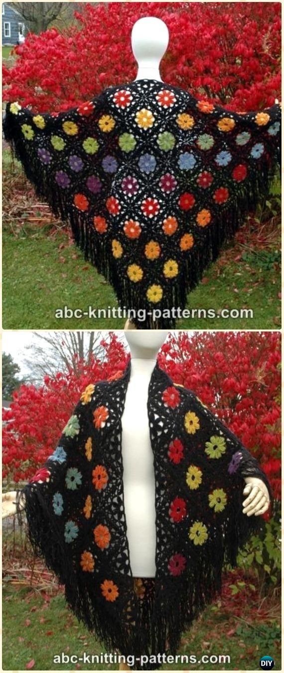 Crochet Rainbow Flowers Motif Shawl Free Pattern - Crochet Women Shawl Sweater Outwear Free Patterns