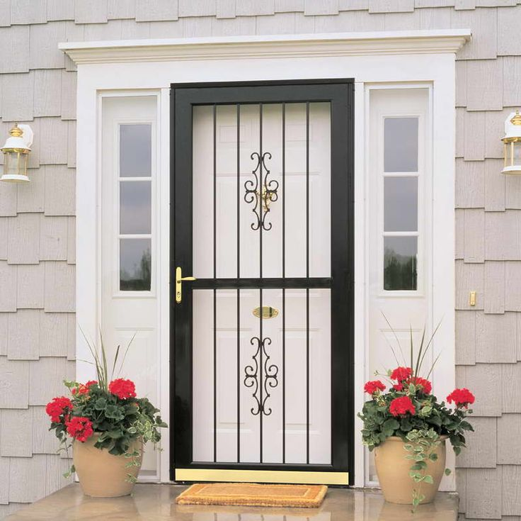 french door security devices with flower decoration