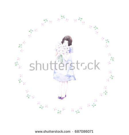 Watercolor girl with bouquet of flowers.   @knyshksenya #illustration #illustrator #ksenyaknysh #watercolor #girl #flowers #nature #illustration #art