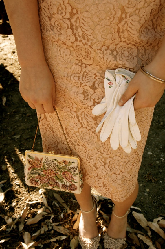 cream gloves with floral embroidery detail by allmondine on Etsy, $25.00