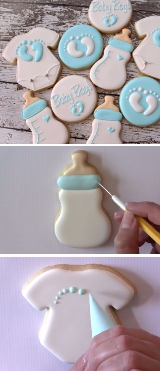 Baby Bottle and Onesie Cookies | DIY Baby Shower Party Ideas for Boys | Inexpensive Baby Shower Favors for Boys