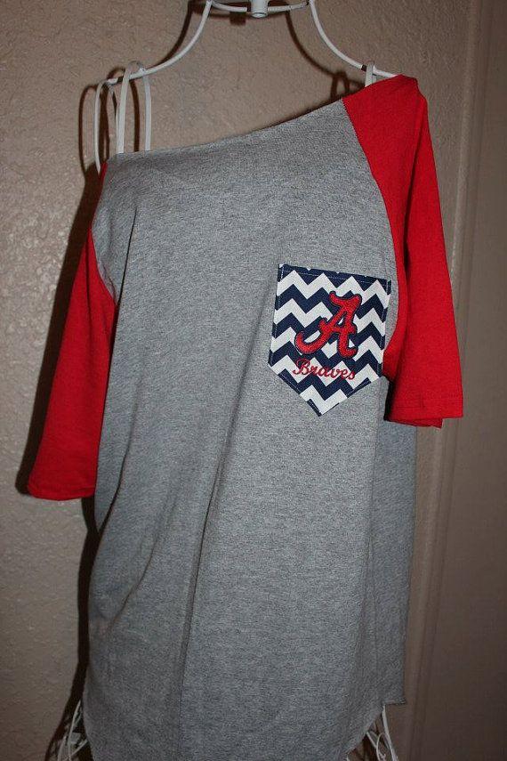 Atlanta Braves Pocket Off-the-Shoulder Shirt Chevron Baseball on Etsy, $32.00