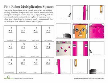 Worksheets: Build a Robot: Multiplication #3