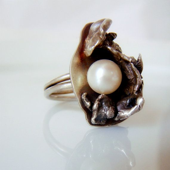 Water Cast Ring made out of recycled silver scraps. . . beautiful fresh water pearl.