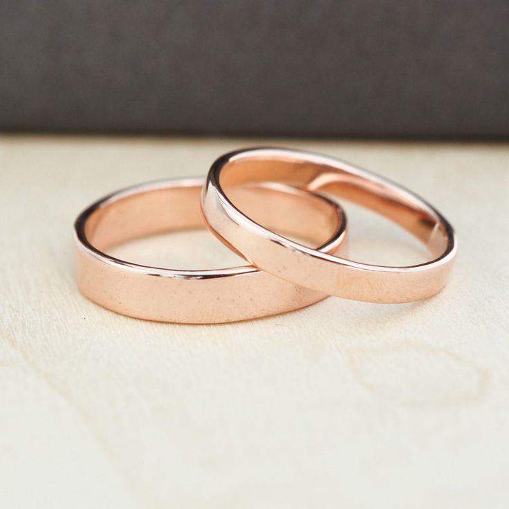 14K Rose Gold Wedding Band Set, Gold Wedding Rings, 3mm and 4mm, Custom, Sea Babe Jewelry. $610.00, via Etsy.