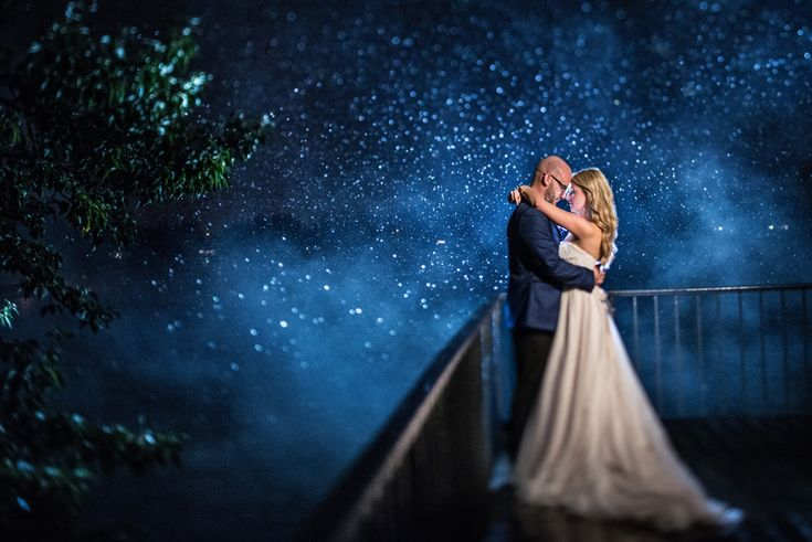 Bride and groom night portrait in fog and snow. #wedding #portrait #bride #groom #night #abbyplusdave #weddingphotographer
