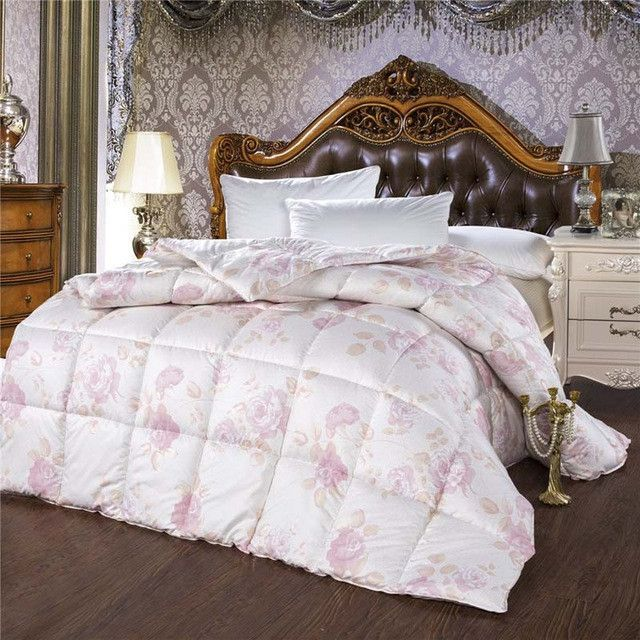 European Edredon funda 100% goose down comforter double feather quilt bedding filling pure pink white duvet warm and thick