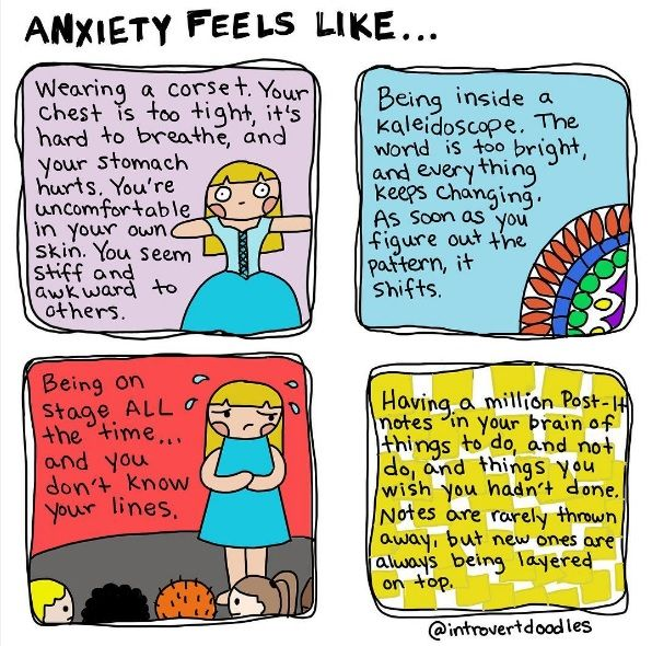 Anxiety feels like from @introvertdoodles
