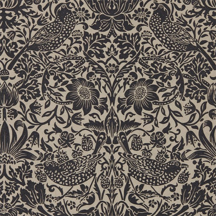 The Original Morris & Co - Arts and crafts, fabrics and wallpaper designs by William Morris & Company | Products | British/UK Fabrics and Wallpapers | Pure Strawberry Thief (DMPU216018) | Pure Wallpapers