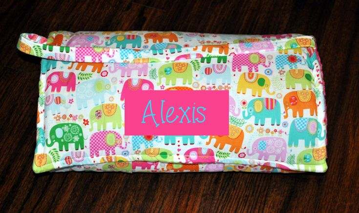 Nap Mat - Monogrammed Happy Girl Elephant Nap Mat with a Hot Pink Minky Dot Blanket by PreciousnProsper on Etsy