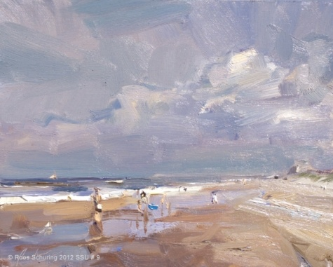 Seascape summer # 9 Sunny beach - zonnig strand, painting by artist Roos Schuring.