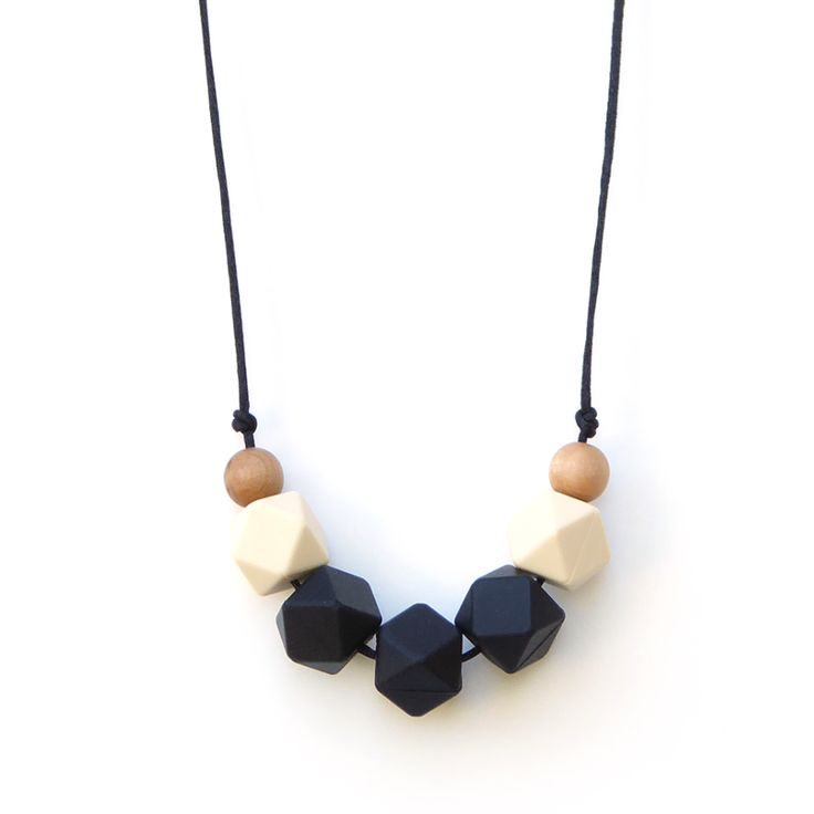 Lollia Wood + Silicone Teething Necklace - Black | Loulou Lollipop