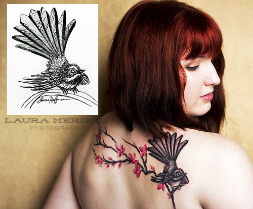 """""""Tattoo by Richard Warnock of Powerhouse Tattoo in Palmerston North, New Zealand. The fantail bird was stenciled in from my India ink art, included in the picture for reference.Richard then free-handed the cherry blossom branch. The piece took a total of 2.5 hours and one sitting."""""""