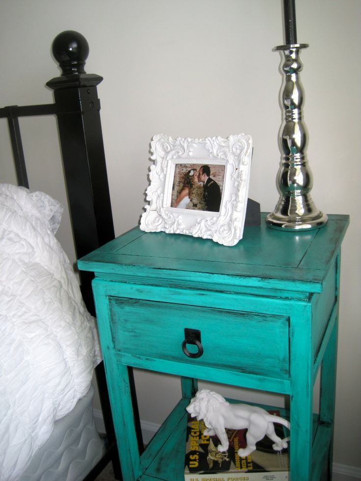 Black White Silver Tantalizing Teal Nightstands Master