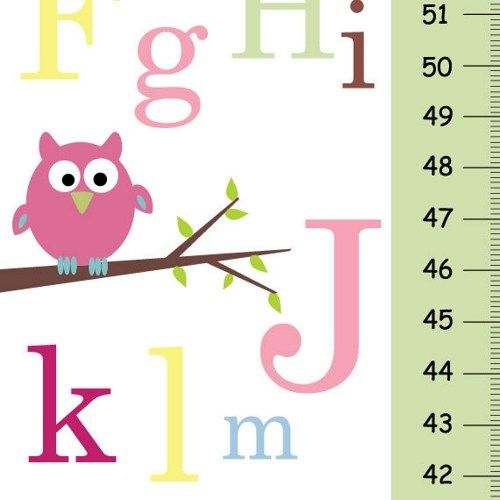 owl wall mural baby | Personalize Growth Chart - ABC pink owl - Baby nursery wall decor ...