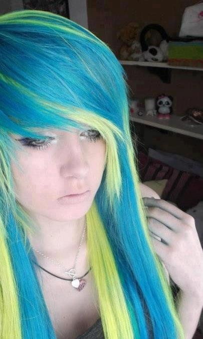 blue and yellow unusual color combo emo hair pinterest color combos yellow hair and. Black Bedroom Furniture Sets. Home Design Ideas