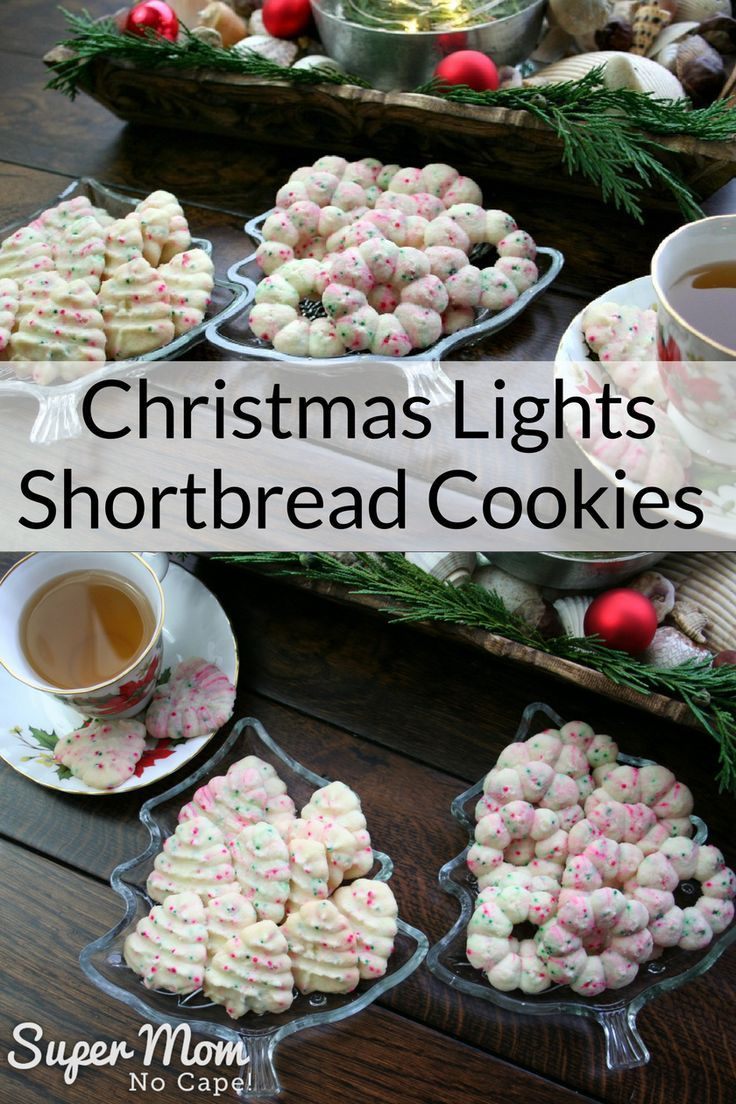 Bake up these fun Christmas Lights Shortbread Cookies. They're a variation of our favorite melt in your mouth shortbread cookies. #recipes #Christmas #shortbread #cookies via @susanflemming