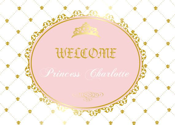 royal princess gold and pink baby shower by PRINTABLEPARTYPAPERS