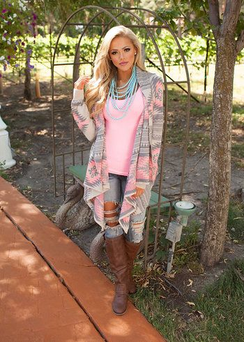 Online boutique. Best outfits. Neon Pink Diamond Aztec Sweater - Modern Vintage Boutique