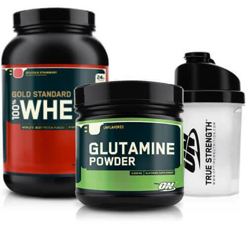 Optimum Gold Standard Whey 908 gr + Optimum Glutamine Powder 630gr + Shaker Kombinasyonu, whey protein tozu, 630 gr glutamin amino asit ve shaker içeren supplement kampanyasıdır.