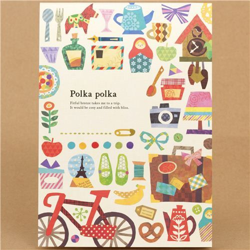 matryoshka and polka dots Memo Pad from Japan with bike