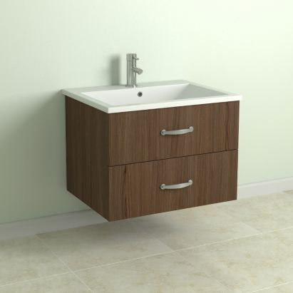 cooke lewis walnut effect wall hung vanity cabinet with drawers
