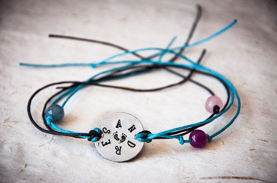Bracelet with round metal plate engraved with by SilviaWithLove