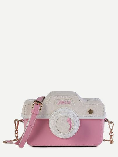 Mini Pink Faux Leather Camera Bag With Chain