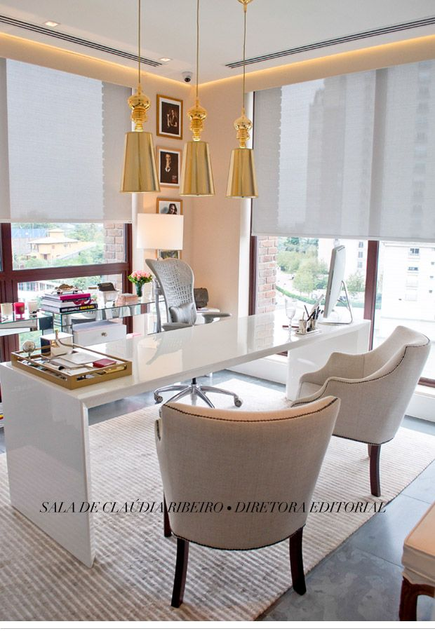 Love the gold hanging pendants and the sleek high gloss white parson desk!
