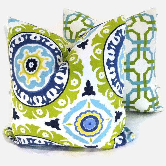 Throw Pillow Color Ideas : Green and Turquoise Suzani Decorative Pillow Cover Project ideas, Colors and Solar
