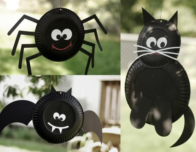 Halloween bat, spider and cat decoration made from paper plates. Easy enough for children to make.