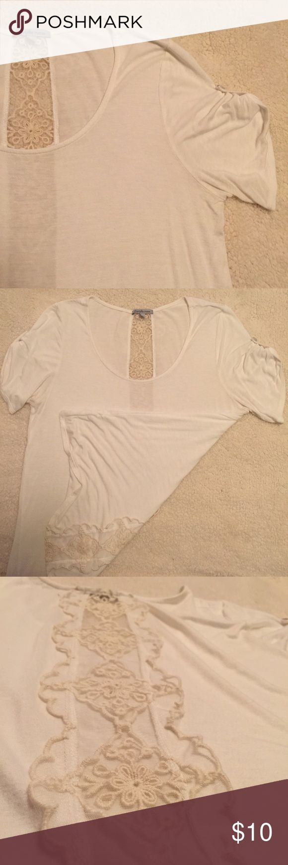 Charlotte Russe White Tee With Lace Inset Only worn once or twice! This top is quite long and a bit sheer. Has a beautiful lace inset running down the back. No fading or pilling! Charlotte Russe Tops Tees - Short Sleeve