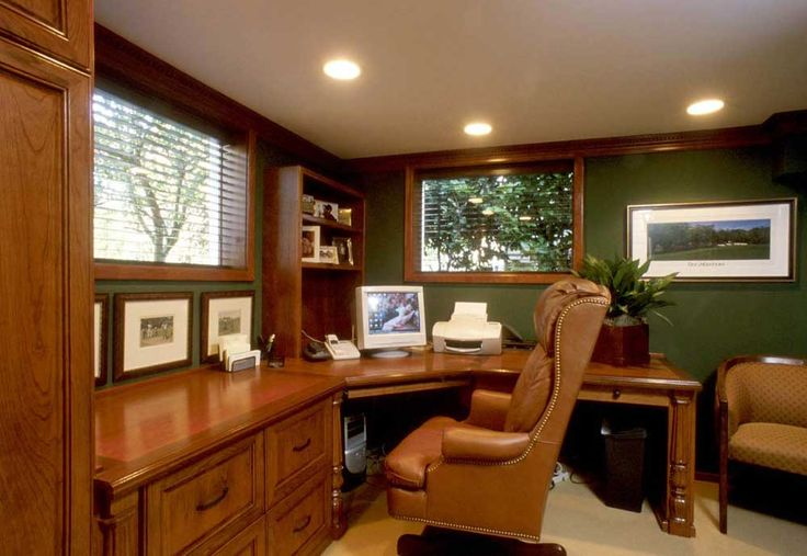 Modern Home Office Furniture House Interior Designs with shaped wooden office desk and drawer also wall wooden bookcase plus brown leather swivel chair