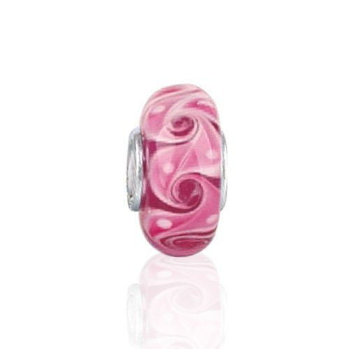 """""""The Swirl Murano Pink Glass Bead is one of many that can be the heart and soul of your Pandora bead bracelet. Made with a .925 sterling silver core, this stylish glass bead stands out! Set over a background of pinks and white small bubbles appear to burst through to the surface adorn this charm that fits Pandora bracelets. Add this charm that fits Pandora bracelets to your story and or try other themes like Valentines, love, birthday..."""