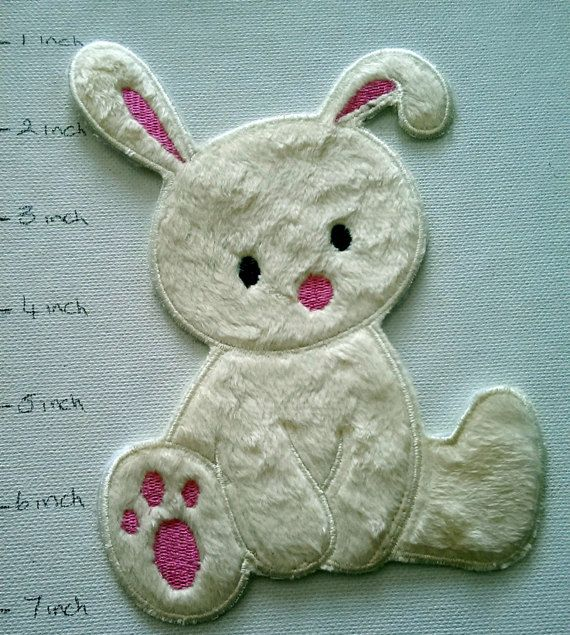 Fluffy Bunny Iron on  Applique iron on patch iron by NecasNicNacs