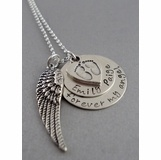Baby Feet Name Charms with Angel Wings Necklace