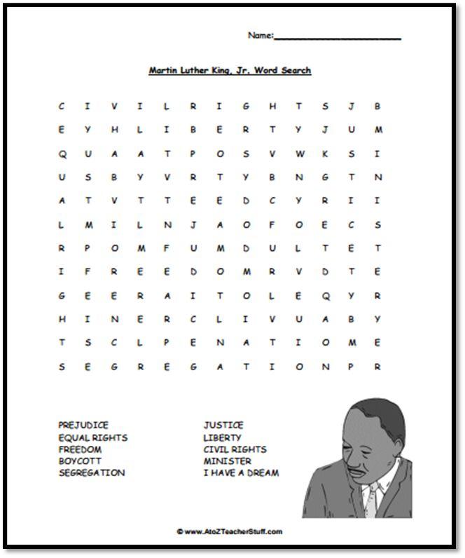 Mlk Word Search Free Printable Teaching Free