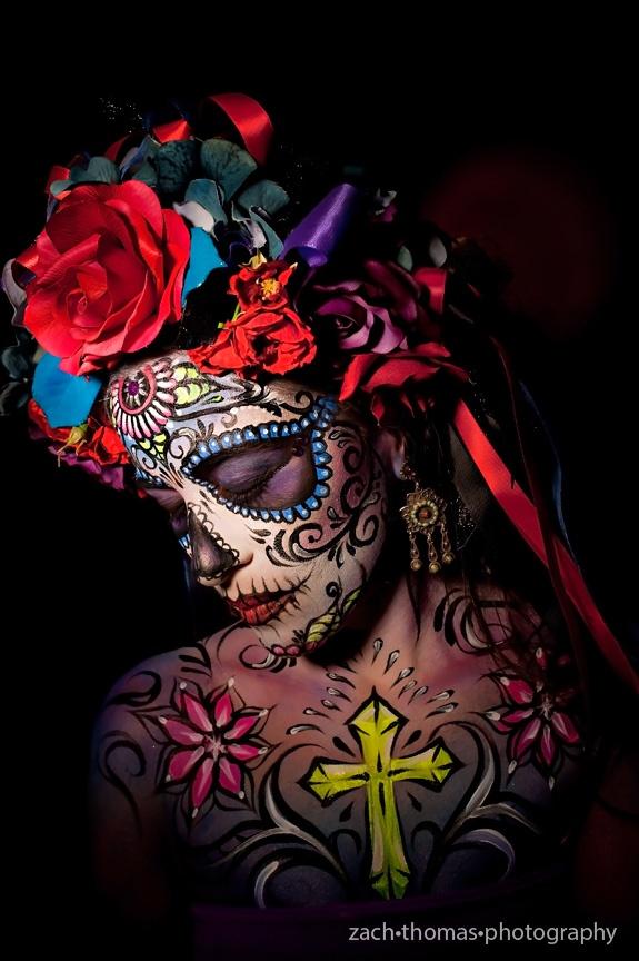 Self Portrait by Heather Aguilera  Halloween Tribute / Dia De Los Muertos  Photography by Zach Thomas  heatherslivingart.com
