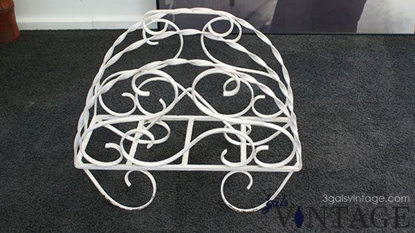 Vintage Shabby Chic Wrought Iron Floor Standing Magazine Rack, Painted White - Front View. $50.00