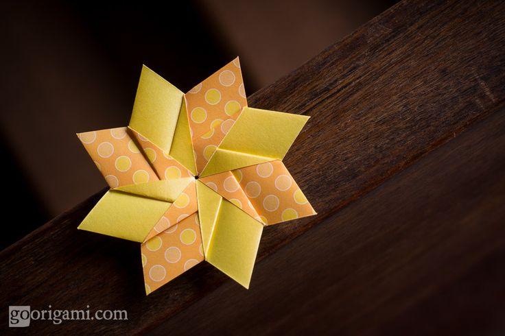 ORIGAMI FLOWERS and PLANTS   Modular Origami Star (by Maria Sinayskaya) Rectangles (A4 ratio), 8 Units, No Glue