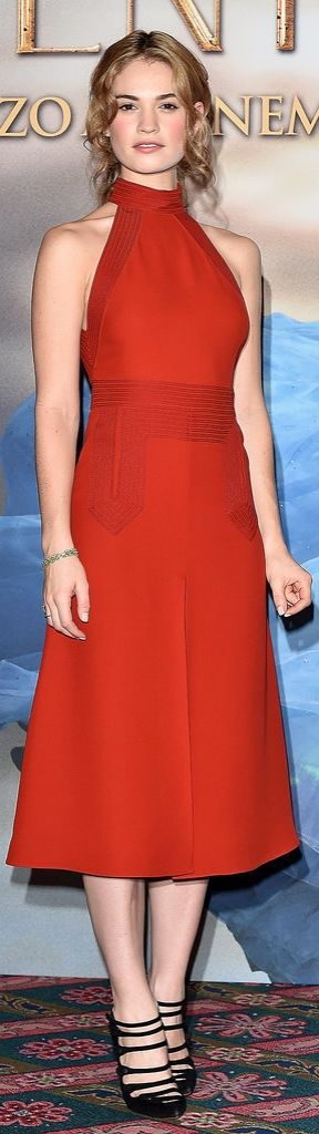 Lily James in a red Spring '15 Gucci dress.