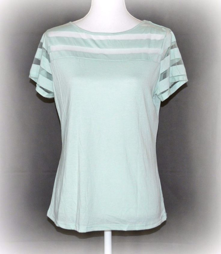 INC Womens Top Tee Shirt Petite Large Green Mint Mesh Striped Illusion Short Slv #INCInternationalConcepts #MeshStripedIllusionTopTeeShirt #Casual