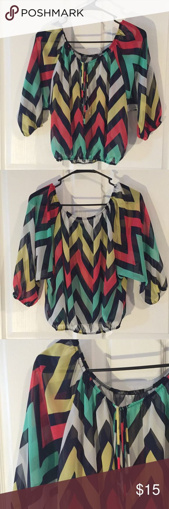 Chevron top Navy, red, yellow, green and white chevron pattern. Tops Blouses