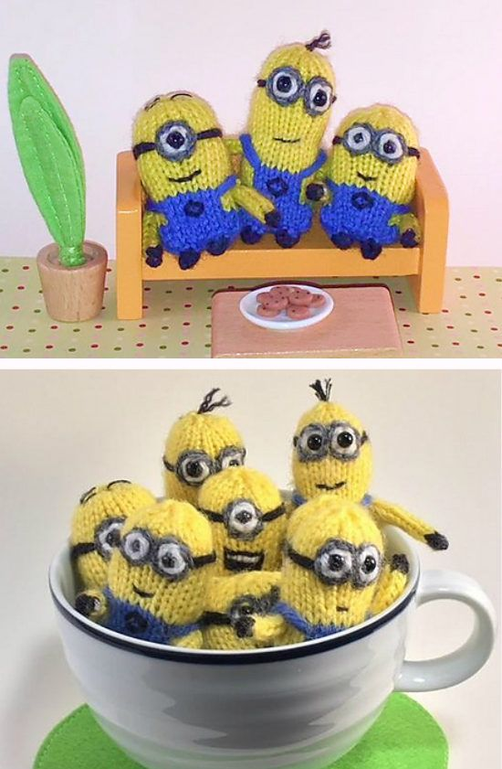 Free Knitting Pattern for Tiny Tiny Minion Friends - Four different shapes of minion toys. 2″ to 2 3/4″ inches tall. Designed by Teresa de Roulet