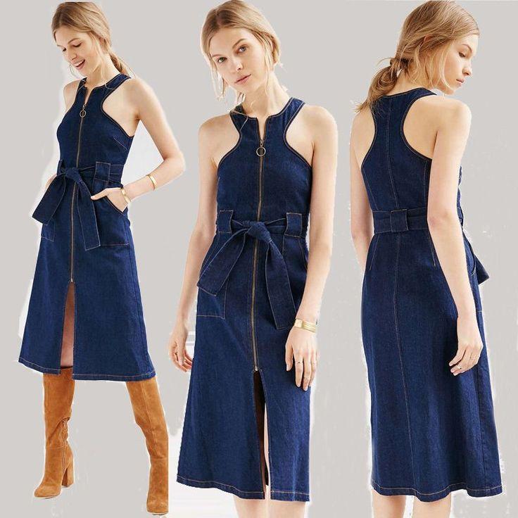 Women Denim Dress High-Waist Furcal Sundress Pinafore Dress Cocktail Dress S-Xxl