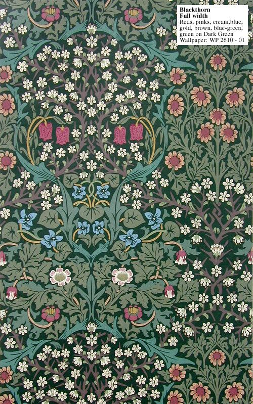 I'm in love with Blackthorn! Designed by J.H.Dearle in 1892 for William Morris. And I put it on my bedroom walls. Every morning I wake up with this pretty sight (sigh)