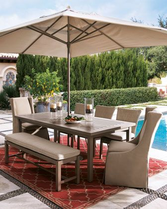 Outdoor Dining Furniture Table And Bench Are Made Of Rust Resistant Wrought Aluminum