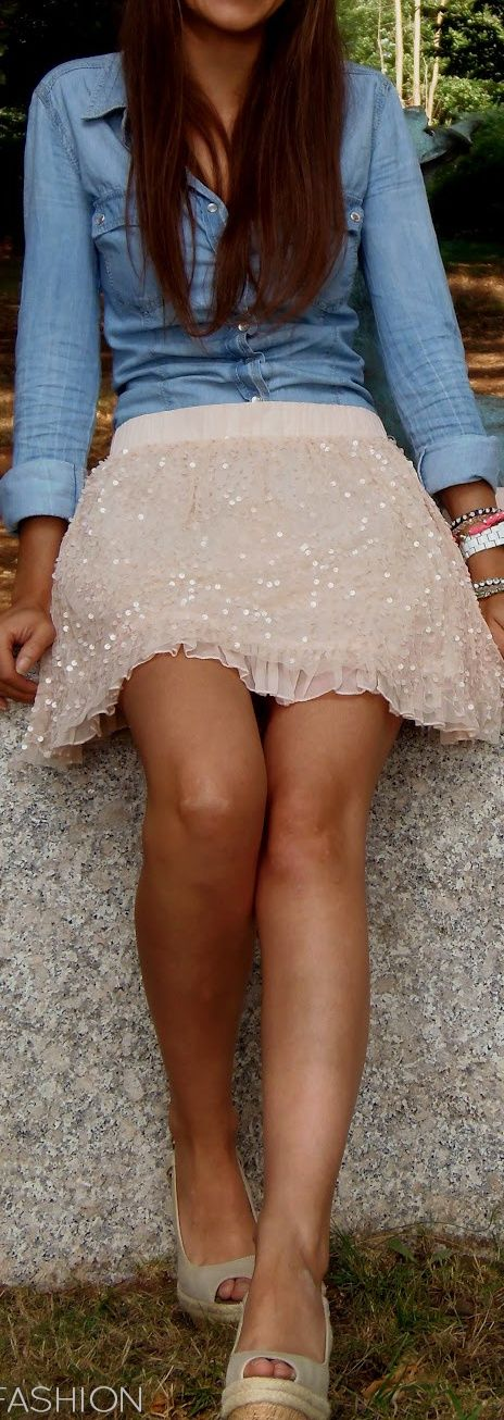 Denim oxford with a sparkly skirt. So cute.