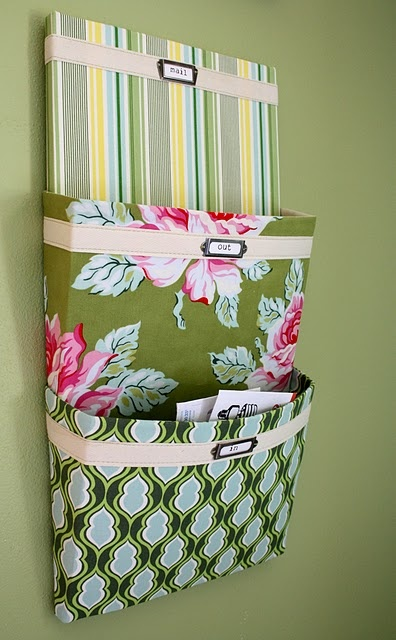 DIY mail organizer.: Organizations Tutorials, Crafts Rooms, Cute Ideas, Cereal Boxes, Mail Organizations, Canvas, Fabrics, Diy Home, Mail Sorter